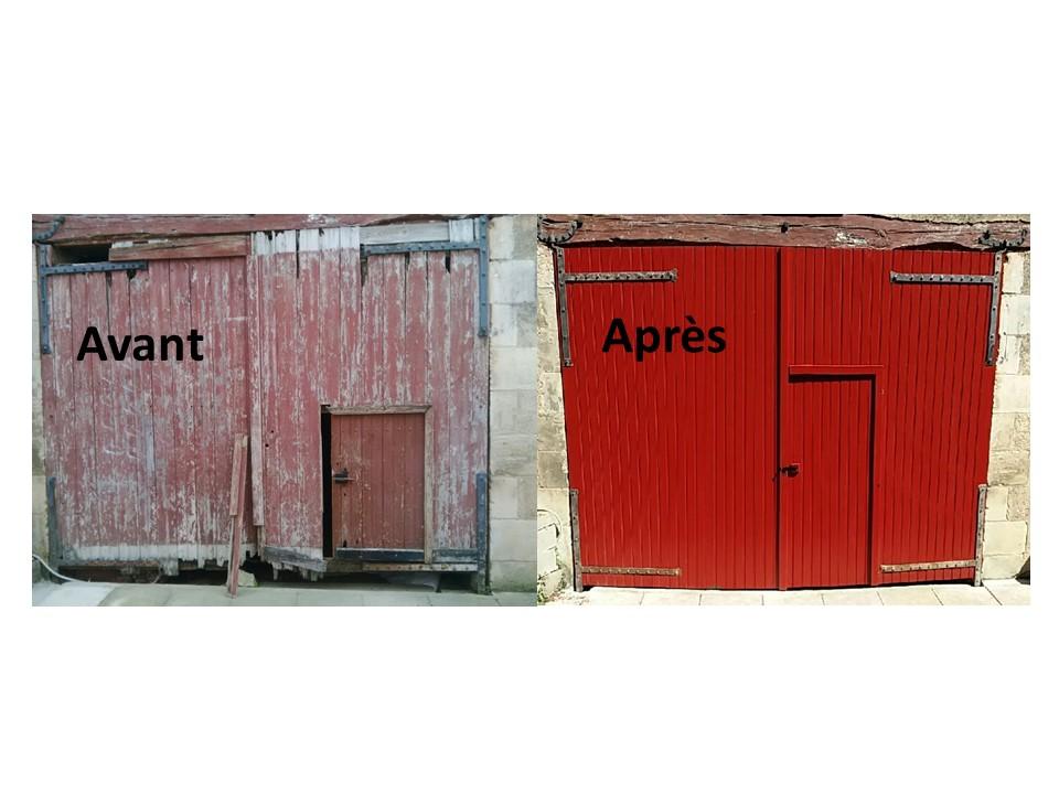 rénovation porte grange, sur mesure, fabrication bois, menuiserie